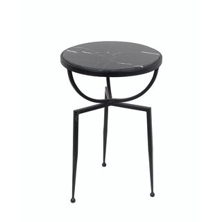 Privilege International Black Marble Accent Table