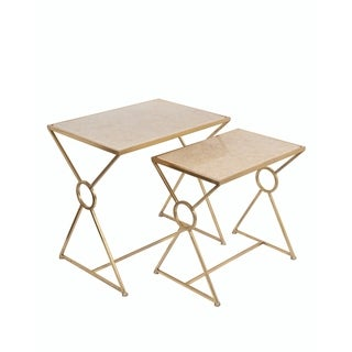Privilege Gold/ Off-white Marble Accent Tables (Set of 2)