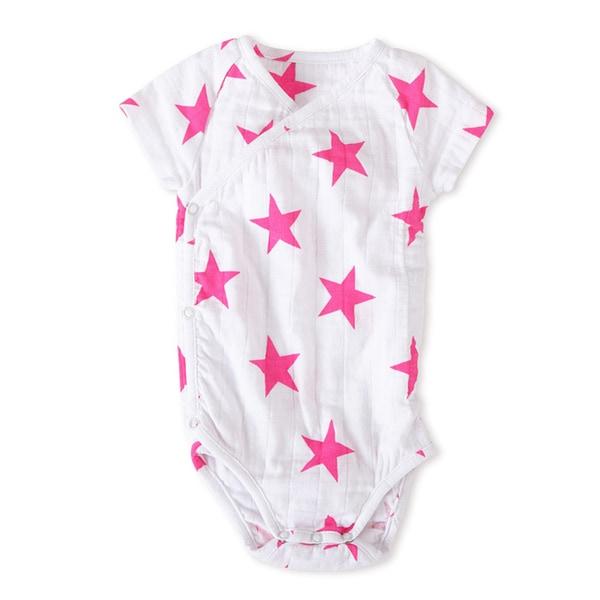 aden + anais Girls' 6-9 Months Muslin Short-sleeve Kimono Bodysuit