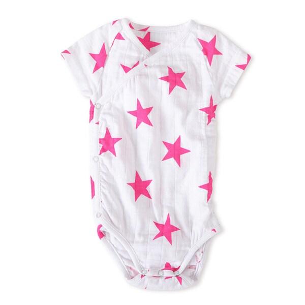 aden + anais Girls' Newborn Muslin Short-sleeve Pink Stars Kimono Bodysuit