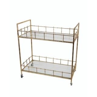 Privilege Gold Iron & Glass Bar Cart