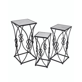 Privilege Black Marble Ornate Iron Accent Table (Set of 3)