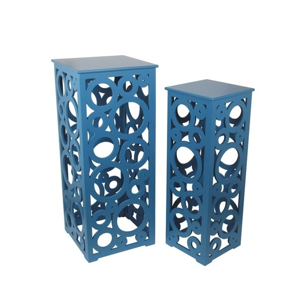 Privilege Blue Cut-out Tall Table (Set of 2)