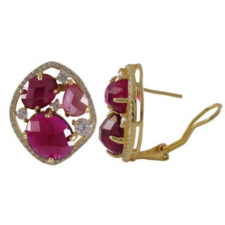 Luxiro Gold Finish Sterling Silver Lab-created Ruby Stud Earrings