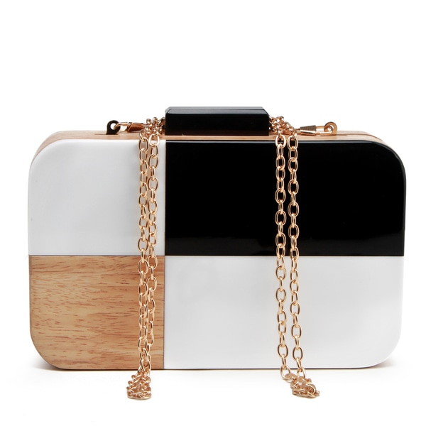 Pink Haley Black & White Wood Box Clutch