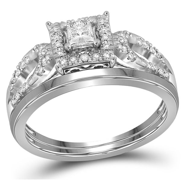 10k White Gold 1/4ct TDW Diamond Cluster Square Bridal Ring Set (G-H, I1-I2)
