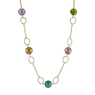 Gold Finish Multi-color Cubic Zirconia Station Necklace