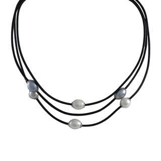Sterling Silver Black and White Freshwater Pearls Cord Necklace
