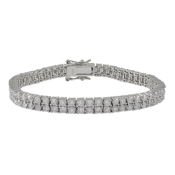 Sterling Silver Cubic Zirconia Two-row Tennis Bracelet