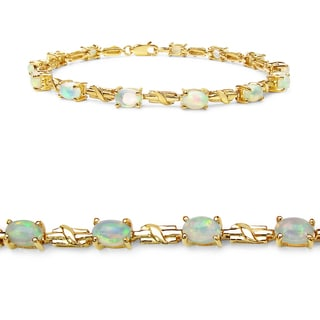 Olivia Leone 14k Yellow Goldplated Sterling Silver 3 1/2ct Ethiopian Opal Bracelet