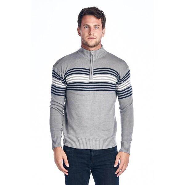 Men's Grey Striped Quarter Zip Sweater