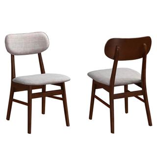 Peony Mid-Century Design Chestnut Finished Upholstered Dining Chairs (Set of 4)