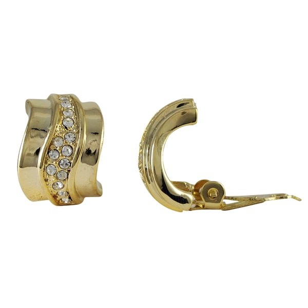 Gold Finish Pave Crystals Modern Curve Huggie Clip-on Earrings