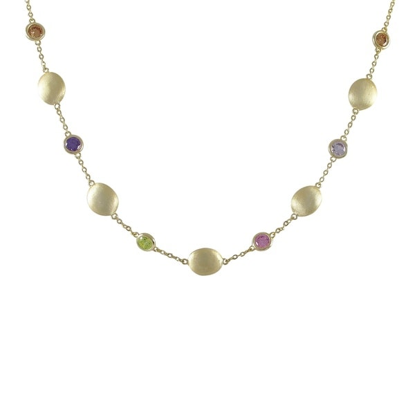 Brushed Gold Finish Multi-color Cubic Zirconia Coin Necklace