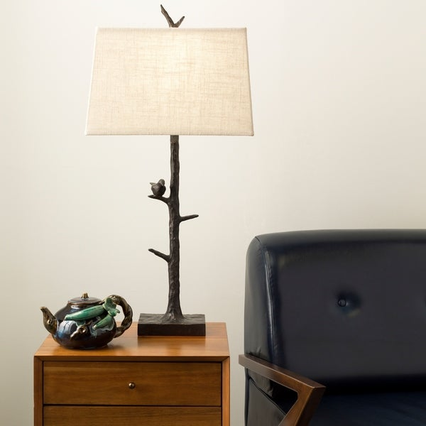 Contemporary Lila Table Lamp with Bronze Finish Resin Base