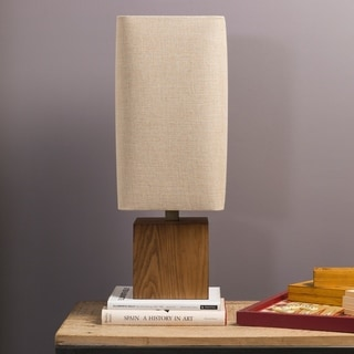 Contemporary Esme Table Lamp with Natural Finish Wood Base