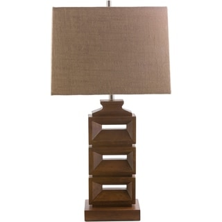 Contemporary Asnee Table Lamp with Stained Wood Base