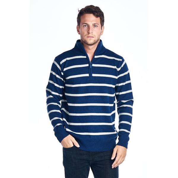 Men's Navy/ White Striped Quarter Zip Sweater