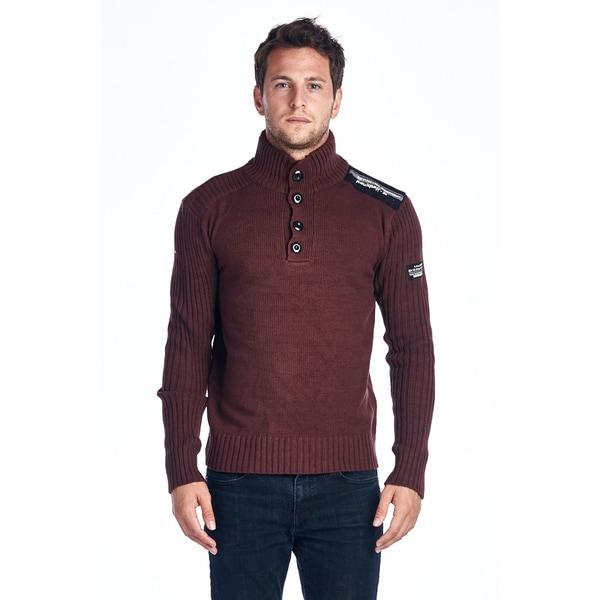 Men's Brown Button Turtle Neck Sweater