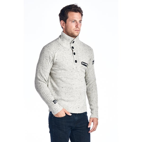 Men's Button Turtle Neck Stone Sweater