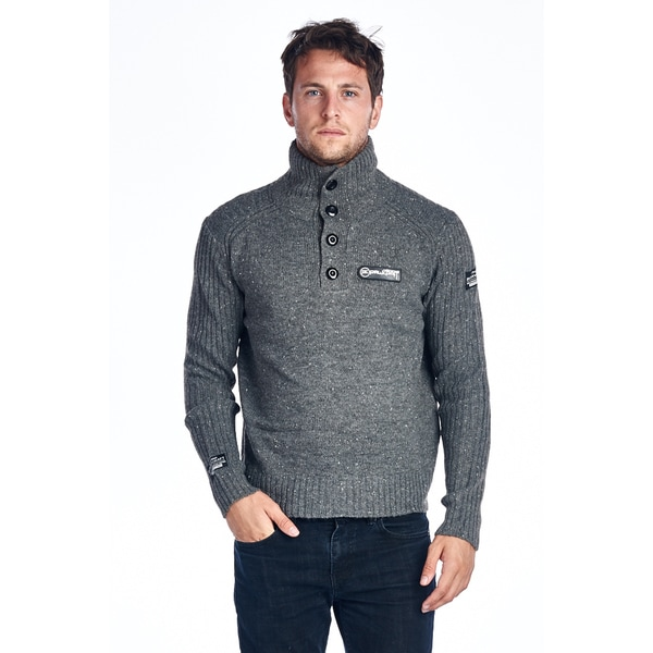 Men's Grey Cotton Turtleneck Sweater