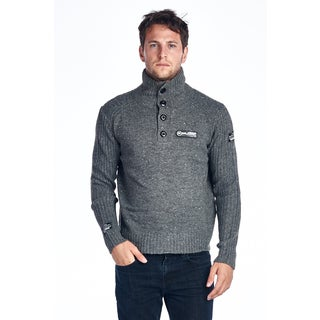Men's Grey Cotton Turtleneck Sweater