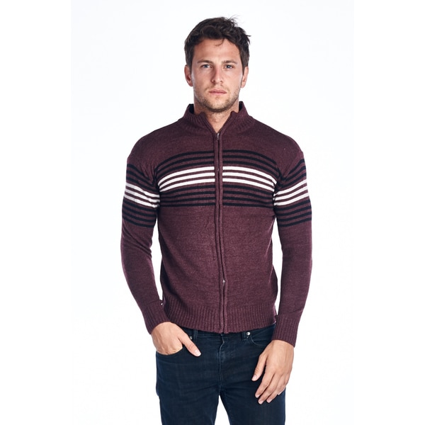 Men's Full Zip Striped Maroon Sweater