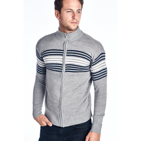 Men's Grey Full Zip Striped Sweater