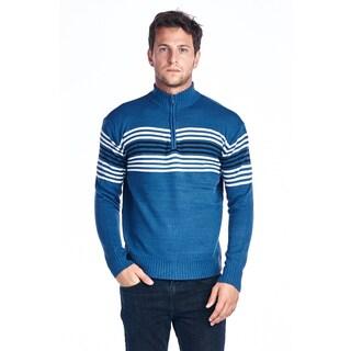 Men's Full Zip Striped Blue Sweater