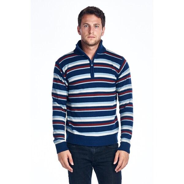 Men's Quarter Zip Red/ Blue Striped Sweater