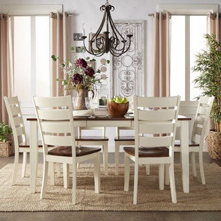 TRIBECCA HOME Eli Rustic Two-tone Mission Ladder Back Extending Dining Set