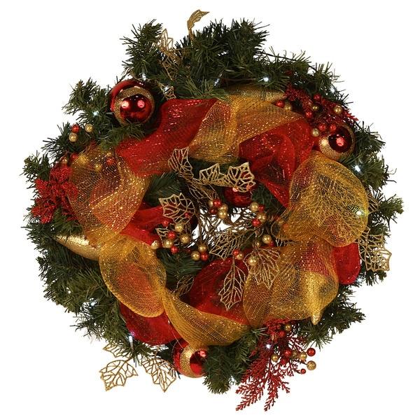 LED-lit 24-inch Mesh Ribbon Wreath