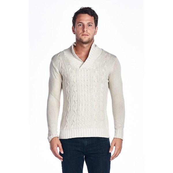 Men's White Shawl Collar Knitted Sweater
