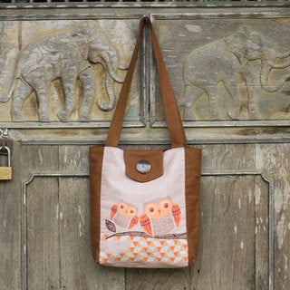 Handcrafted Cotton 'Owl Time' Shoulder Bag (Thailand)
