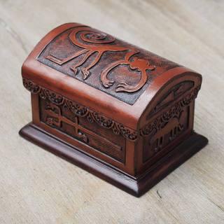 Handcrafted Leather Cedar Wood 'Nazca Legend' Jewelry Box (Peru)
