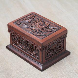 Handcrafted Leather Cedar Wood 'Condor' Jewelry Box (Peru)