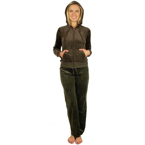 Women's Coffee Velour Loungewear Set