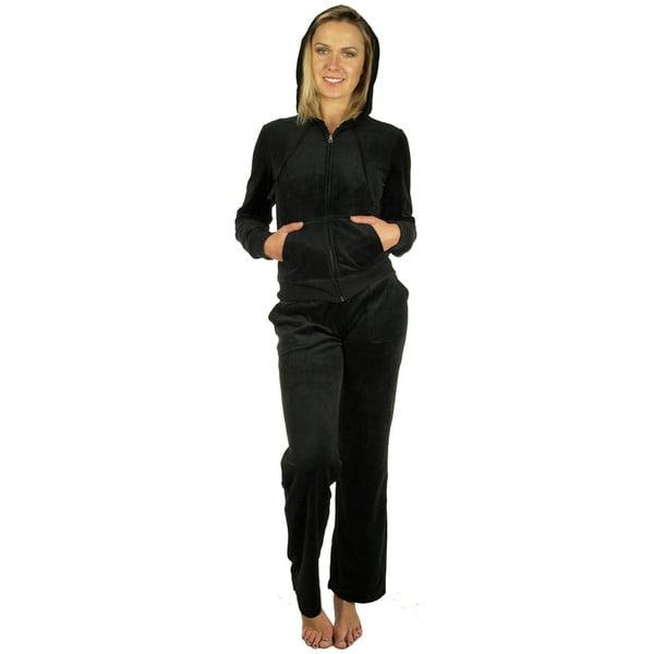 Women's Black Velour Loungewear Set