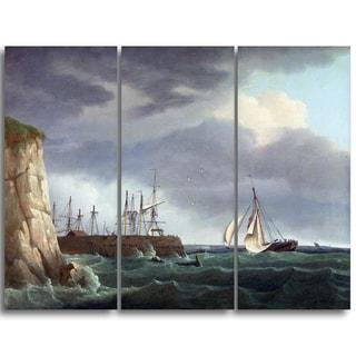 Design Art 'Thomas Whitcombe - A Ship Running Into Harbour' Canvas Art Print