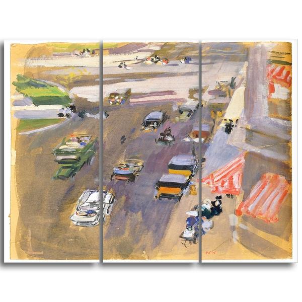 Design Art 'Joaquin Sorolla y Bastida - Fifth Avenue New York' Canvas Art Print - 28Wx36H Inches - 3 Panels