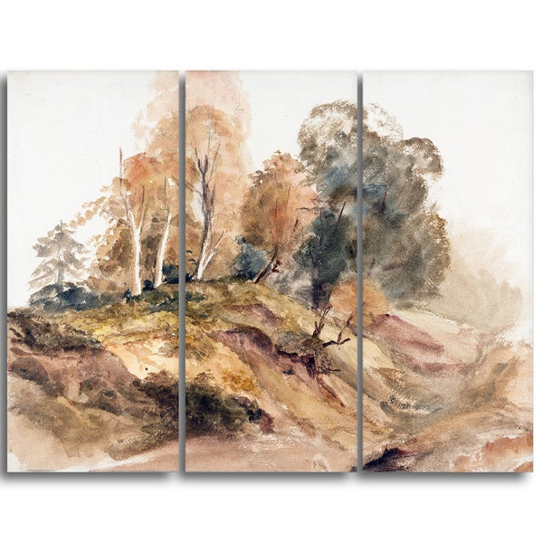 Design Art 'Peter DeWint - Trees on a Bank' Canvas Art Print