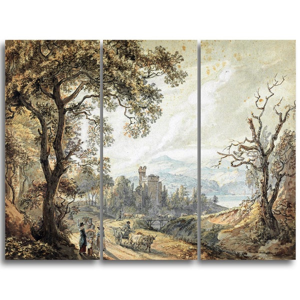 Design Art 'Paul Sandby - View in Wales' Canvas Art Print