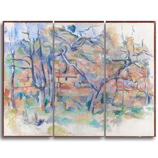 Design Art 'Paul Cezanne - Taer og hus, Provence' Canvas Art Print