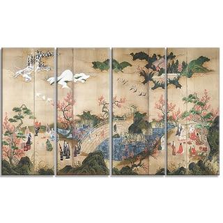 Design Art 'Kano Hideyori - Maple Viewers' Canvas Art Print
