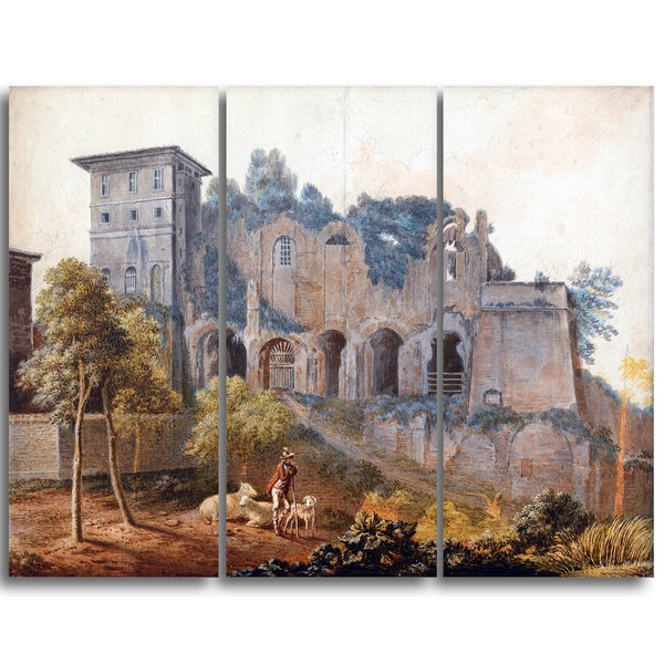 Design Art 'John Warwick Smith - In the Camp Vaccinio at Rome' Canvas Art Print