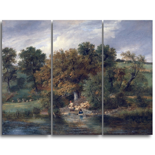 Design Art 'James Stark - Sheep Washing at Postwick Grove' Canvas Art Print