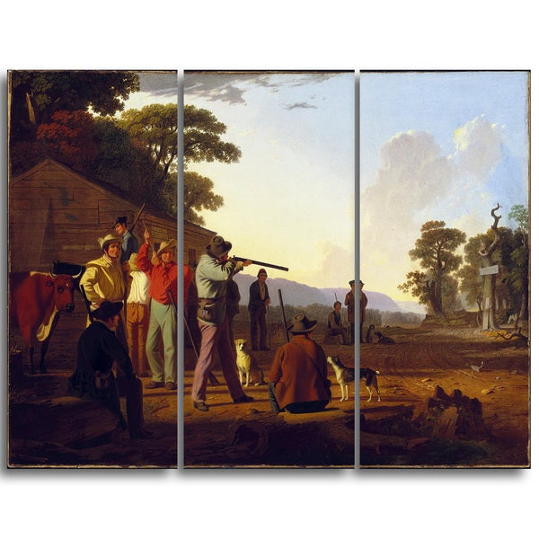 Design Art 'George Caleb Bingham - Shooting for the Beef' Landscape Canvas Art Print 16436164