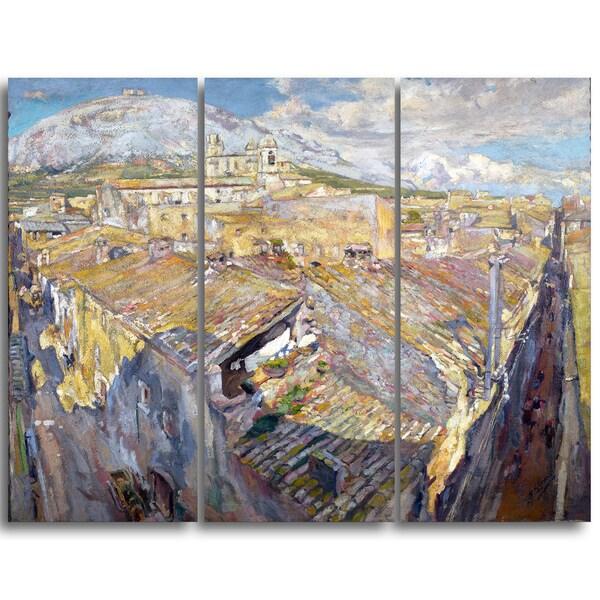 Design Art 'Francesc Gimeno - A Village in L'Emporda' Landscape Canvas Art Print