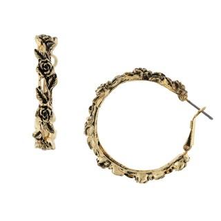 1928 Jewelry Antiqued Goldtone Flower Hoop Earrings