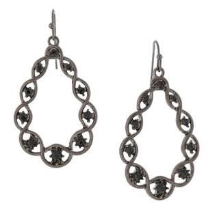 1928 Jewelry Black-tone Black Crystal Open Teardrop Earrings